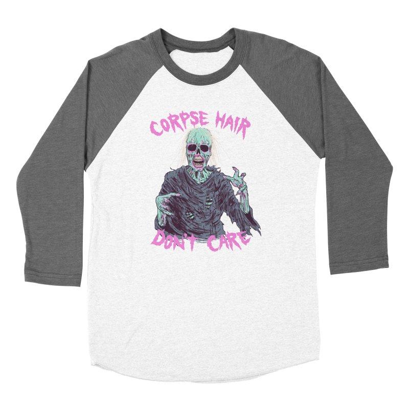Corpse Hair Don't Care Men's Baseball Triblend Longsleeve T-Shirt by Hillary White