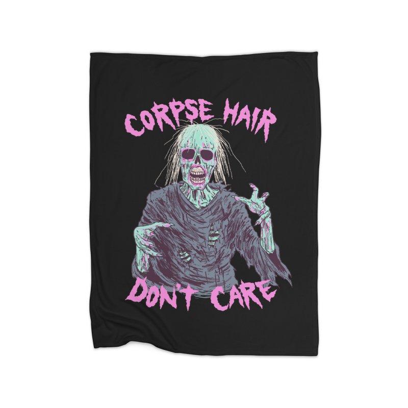 Corpse Hair Don't Care Home Fleece Blanket Blanket by Hillary White