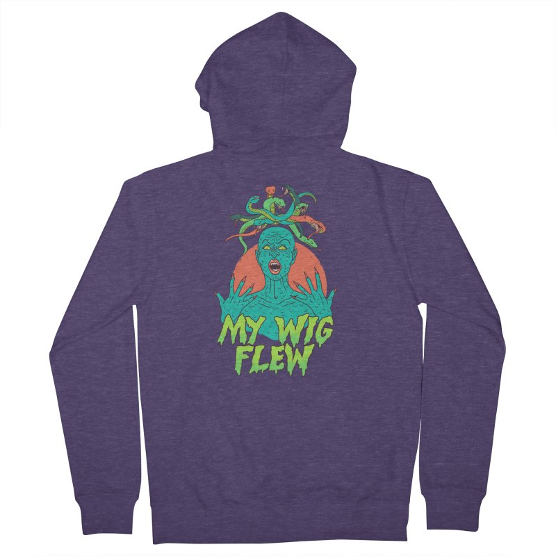 My Wig Flew Men's French Terry Zip-Up Hoody by Hillary White