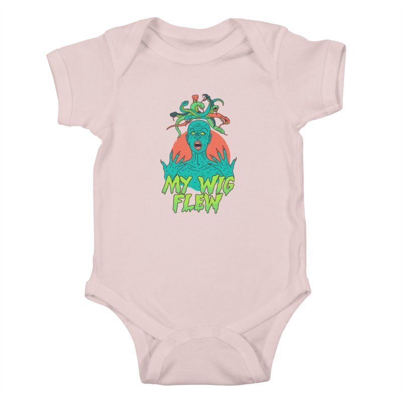 My Wig Flew Kids Baby Bodysuit by Hillary White