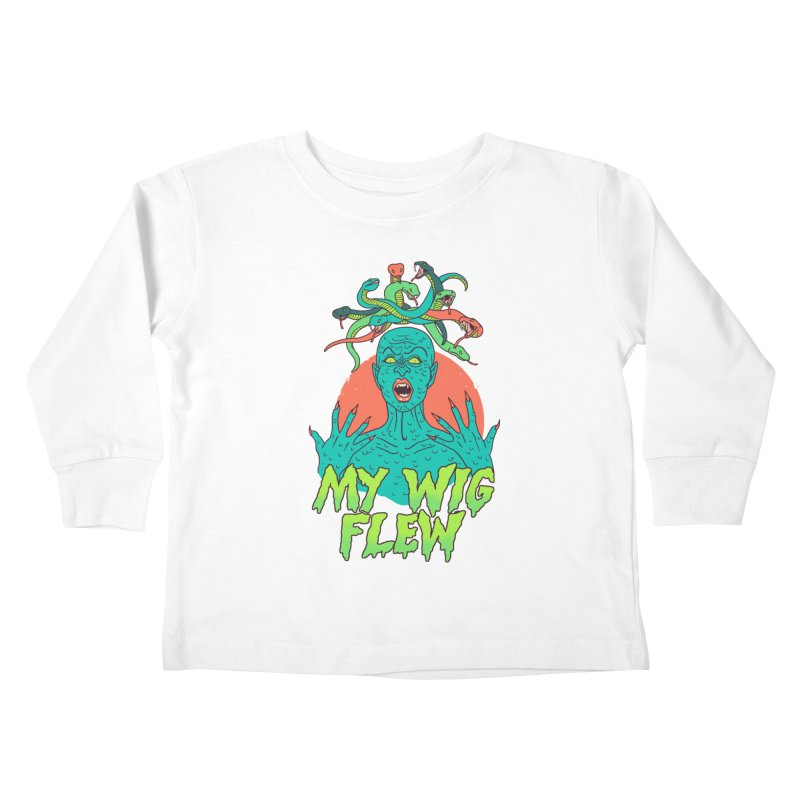 My Wig Flew Kids Toddler Longsleeve T-Shirt by Hillary White