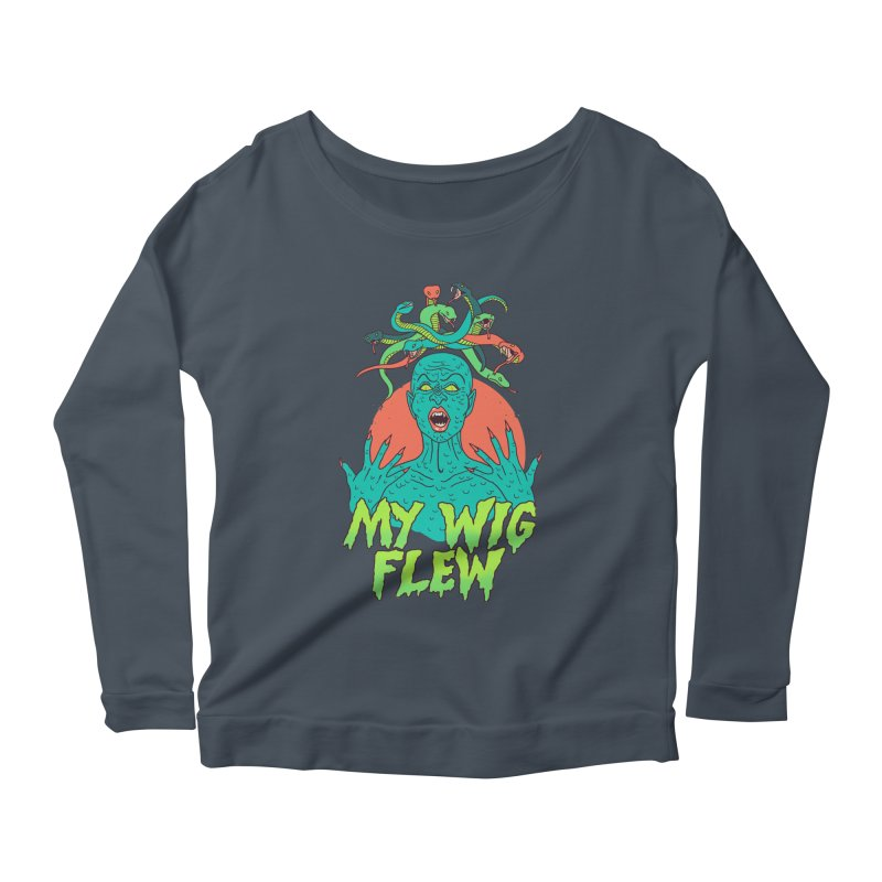 My Wig Flew Women's Scoop Neck Longsleeve T-Shirt by Hillary White