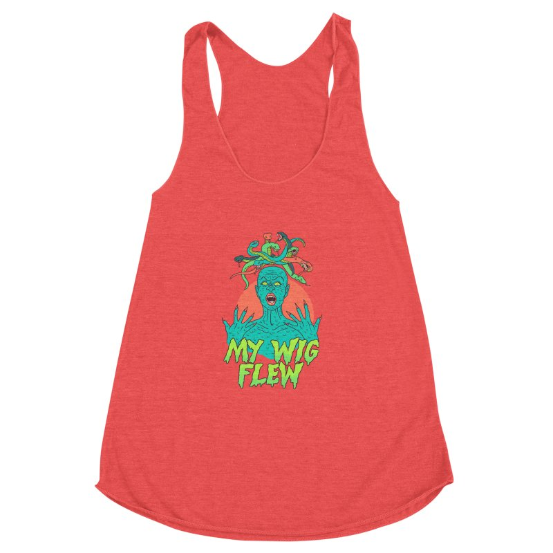 My Wig Flew Women's Racerback Triblend Tank by Hillary White