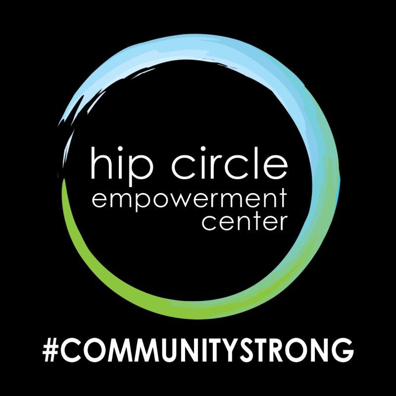 Hip Circle Logo #COMMUNITYSTRONG Dark Background Men's Pullover Hoody by Hip Circle's Merchandise Shop