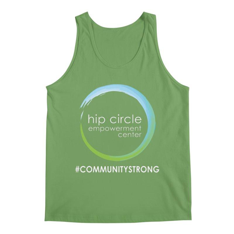 Hip Circle Logo #COMMUNITYSTRONG Dark Background Men's Tank by Hip Circle's Merchandise Shop