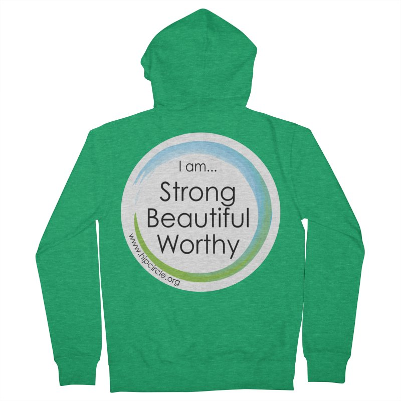 Hip Circle Strong Beautiful Worthy Side URL Men's Zip-Up Hoody by Hip Circle's Merchandise Shop
