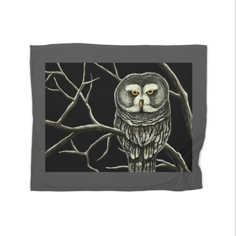 Grey Owl Home Blanket by HM Artistic Creations Artist Shop