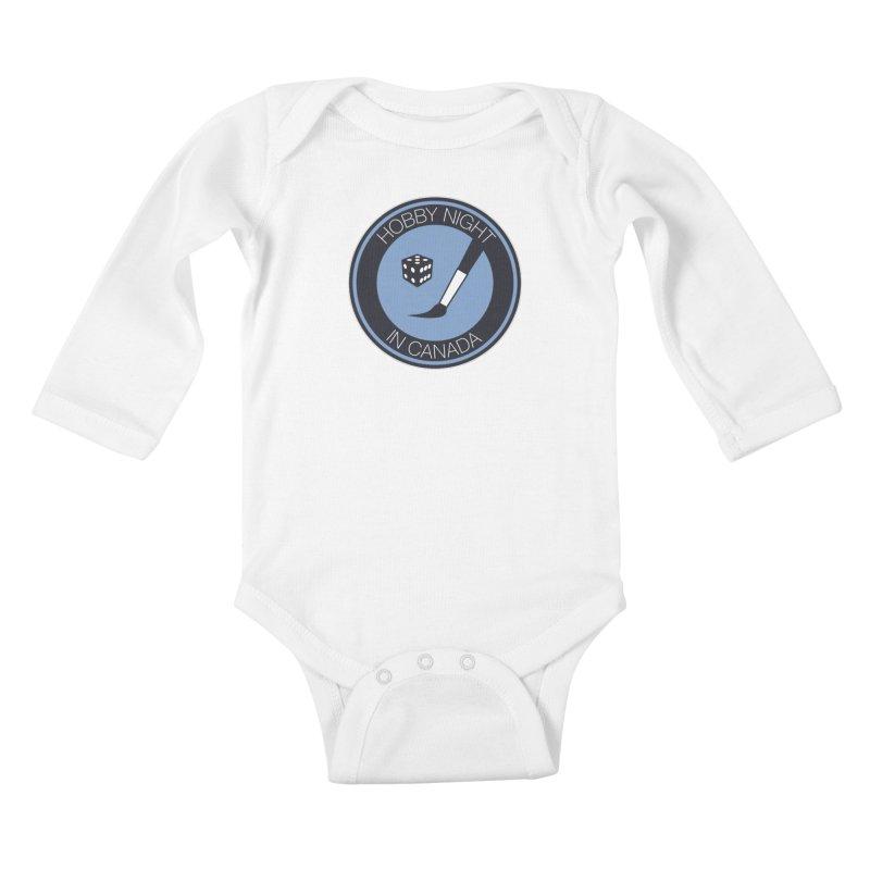 Hobby Night Logo Kids Baby Longsleeve Bodysuit by Hobby Night in Canada Podcast