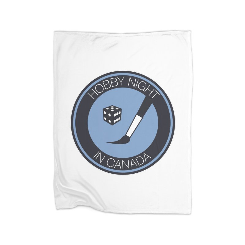 Hobby Night Logo Home Fleece Blanket Blanket by Hobby Night in Canada Podcast
