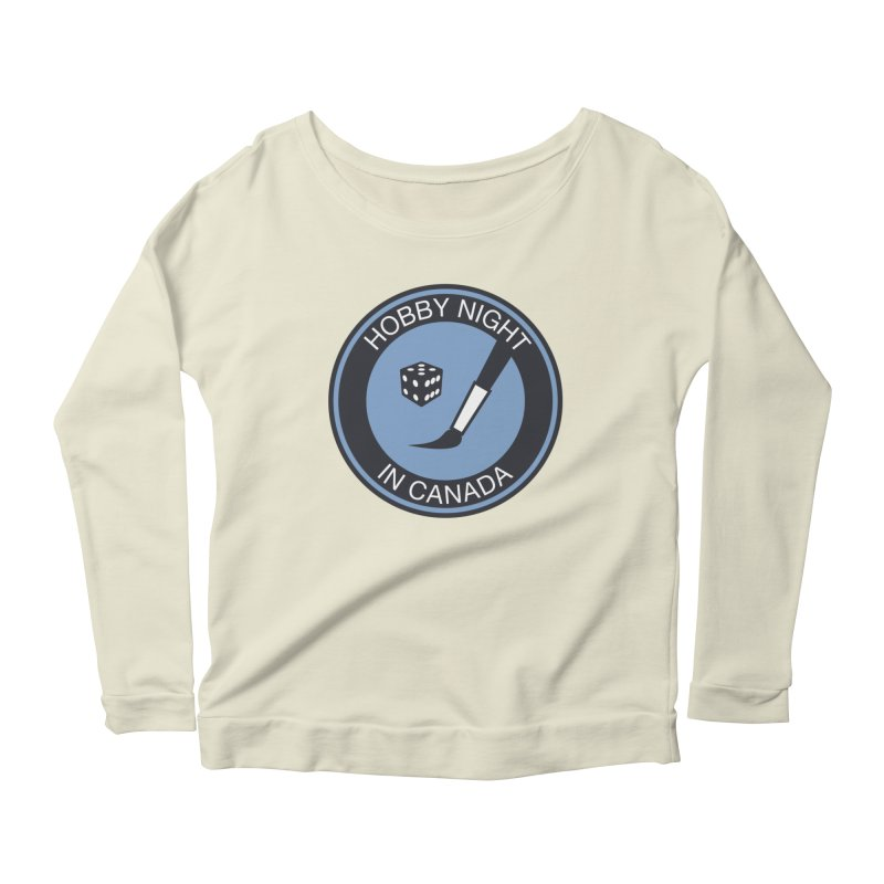 Hobby Night Logo - BOLD Women's Scoop Neck Longsleeve T-Shirt by Hobby Night in Canada Podcast