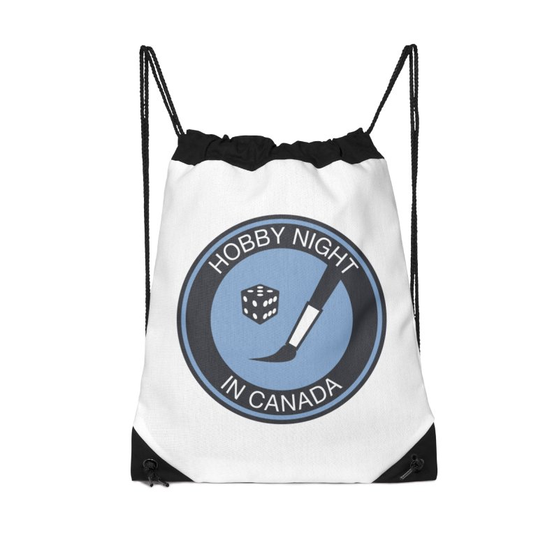 Hobby Night Logo - BOLD Accessories Drawstring Bag Bag by Hobby Night in Canada Podcast