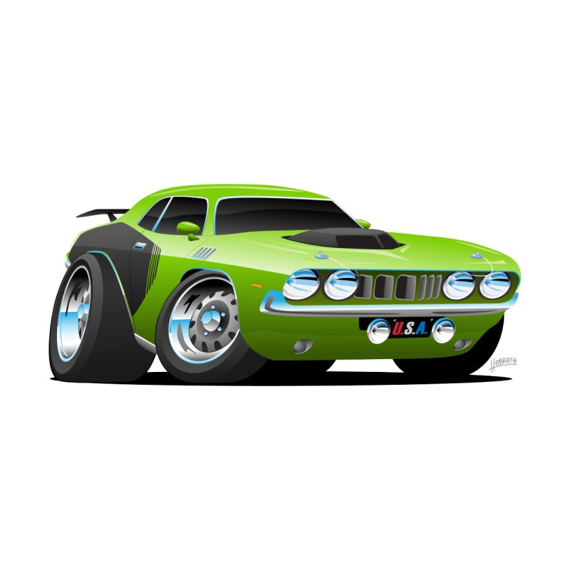 Hobrath Classic Seventies Style American Muscle Car Cartoon