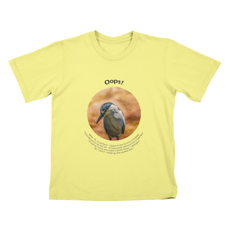 Oops! in Kids T-Shirt Canary by Hogwash's Artist Shop