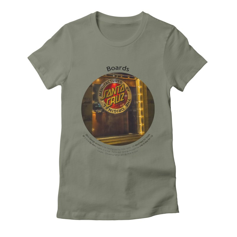 Boards Women's Fitted T-Shirt by Hogwash's Artist Shop