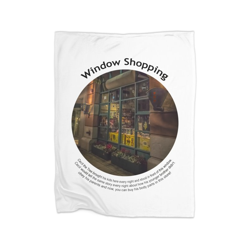 Window Shopping Home Fleece Blanket Blanket by Hogwash's Artist Shop