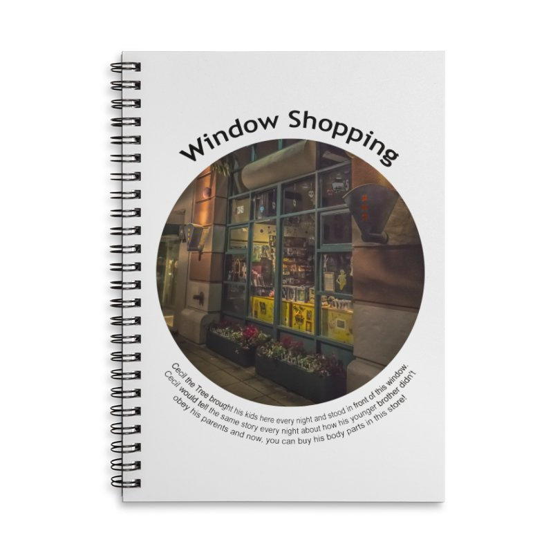 Window Shopping Accessories Lined Spiral Notebook by Hogwash's Artist Shop