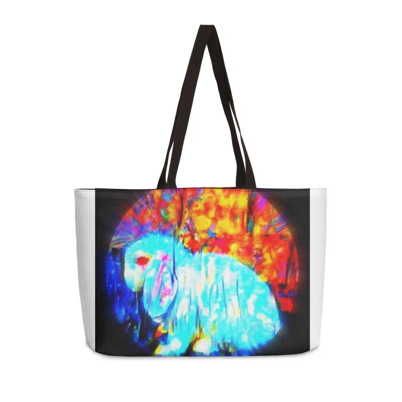 Rabbit Focus Accessories Weekender Bag Bag by hollandlopartwork's Artist Shop