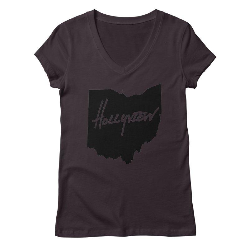 Hollyview Ohio - Black Ink Women's Regular V-Neck by hollyview's Artist Shop
