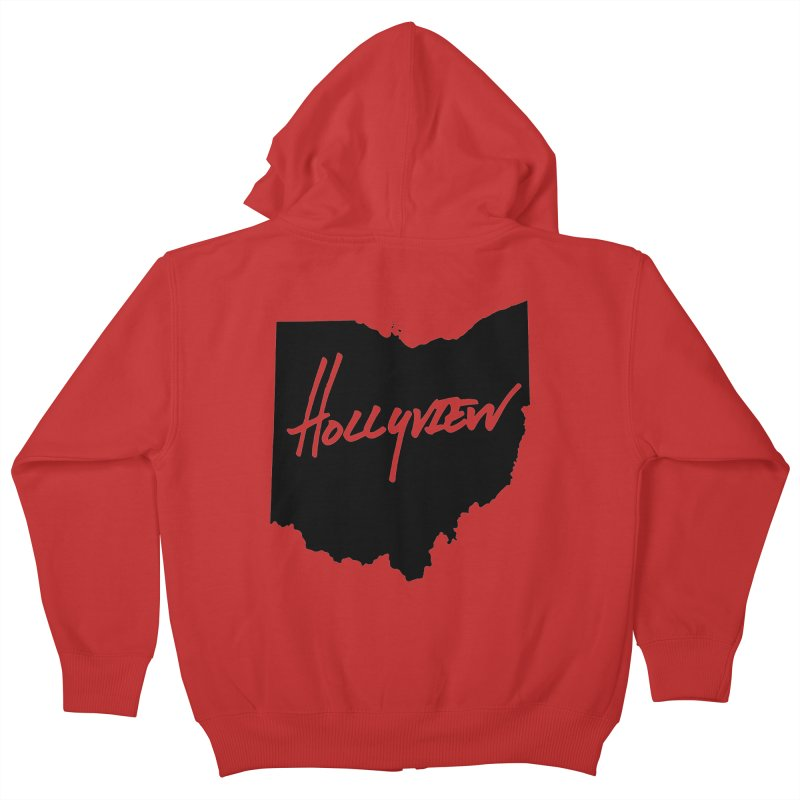 Hollyview Ohio - Black Ink Kids Zip-Up Hoody by hollyview's Artist Shop