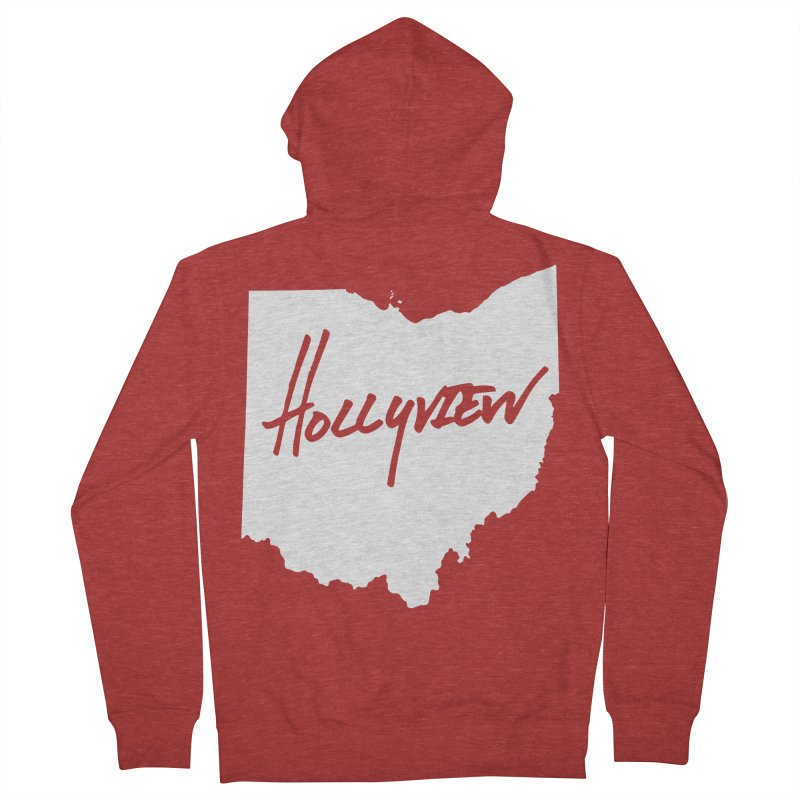 Hollyview Ohio - White Ink Men's French Terry Zip-Up Hoody by hollyview's Artist Shop