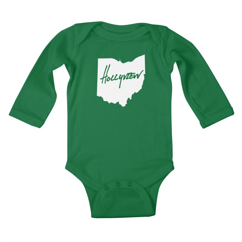 Hollyview Ohio - White Ink Kids Baby Longsleeve Bodysuit by hollyview's Artist Shop