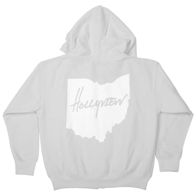 Hollyview Ohio - White Ink Kids Zip-Up Hoody by hollyview's Artist Shop
