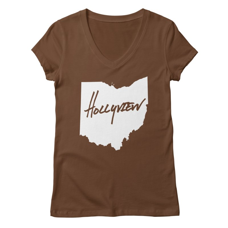 Hollyview Ohio - White Ink Women's V-Neck by hollyview's Artist Shop