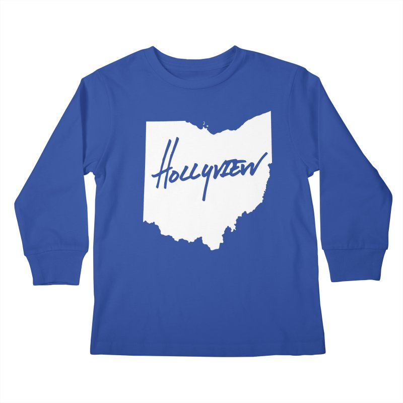 Hollyview Ohio - White Ink Kids Longsleeve T-Shirt by hollyview's Artist Shop