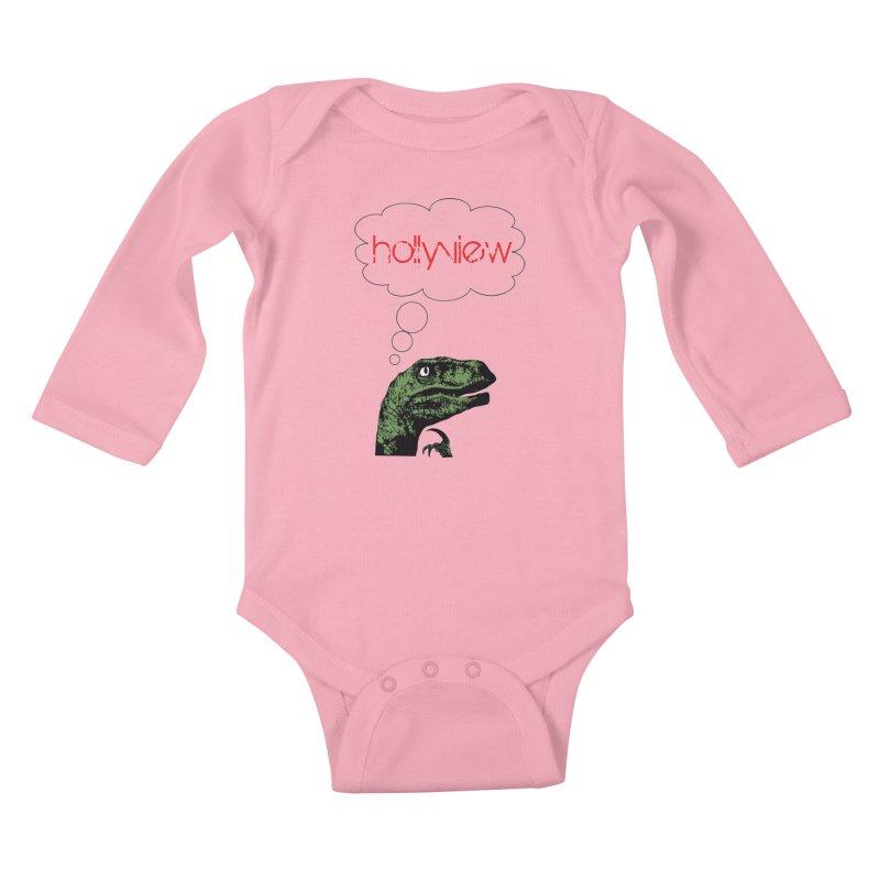 Clever Raptor Kids Baby Longsleeve Bodysuit by hollyview's Artist Shop
