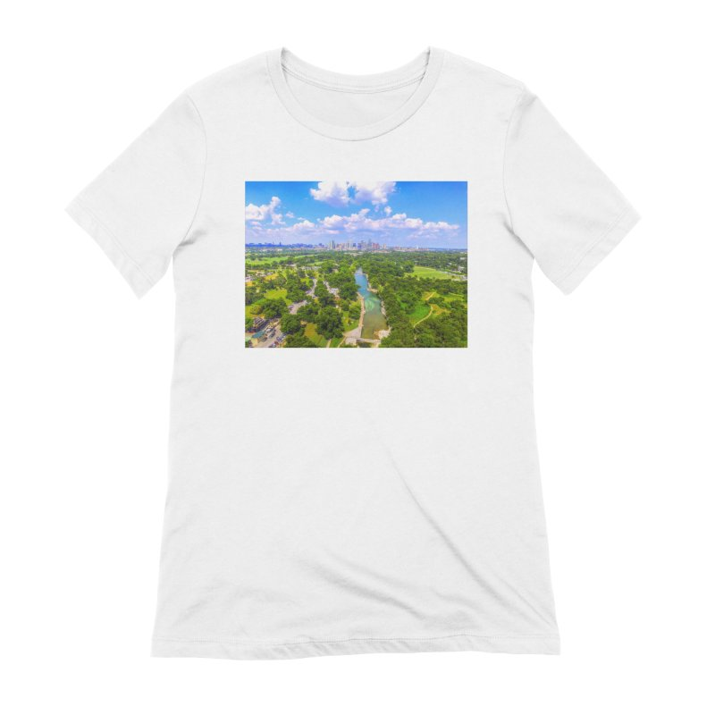 Barton Springs Pool / Custom Merchandise / Aerial Photography Women's Extra Soft T-Shirt by Holp Photography Artist Shop