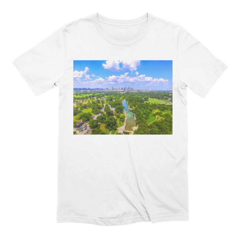 Barton Springs Pool / Custom Merchandise / Aerial Photography Men's Extra Soft T-Shirt by Holp Photography Artist Shop