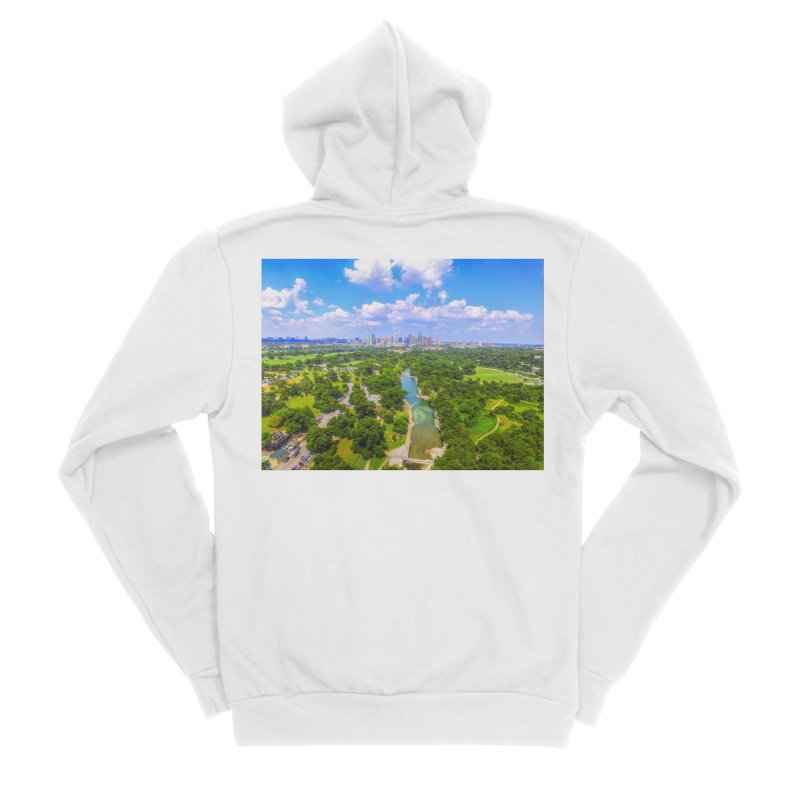 Barton Springs Pool / Custom Merchandise / Aerial Photography Women's Sponge Fleece Zip-Up Hoody by Holp Photography Artist Shop