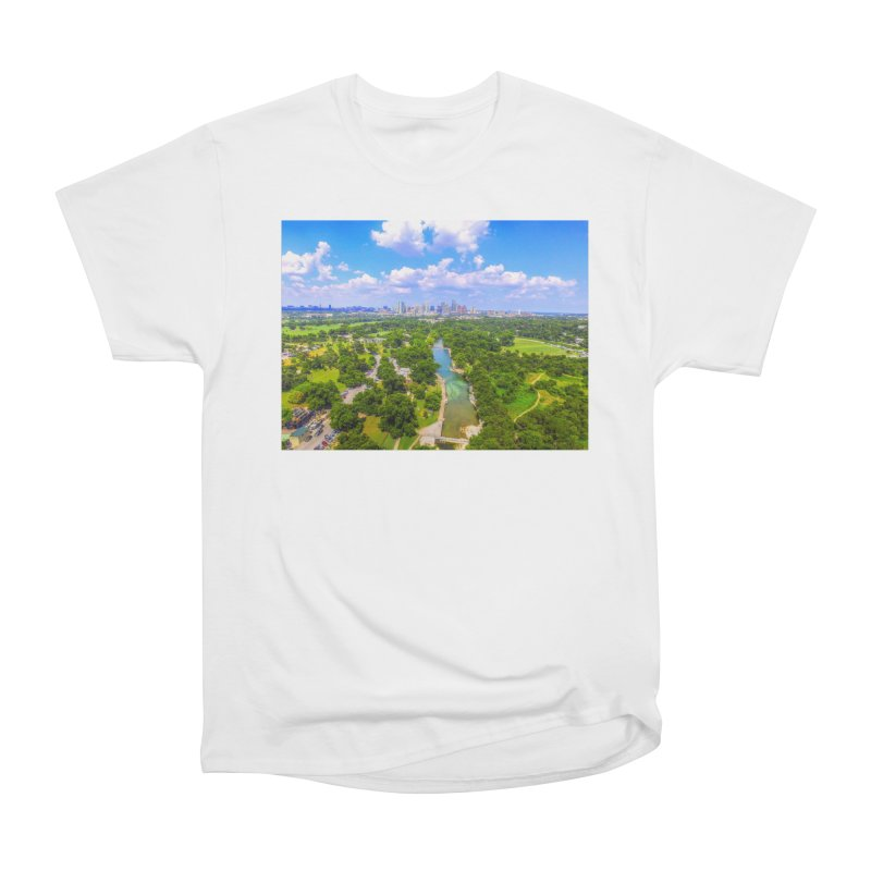 Barton Springs Pool / Custom Merchandise / Aerial Photography Men's Heavyweight T-Shirt by Holp Photography Artist Shop