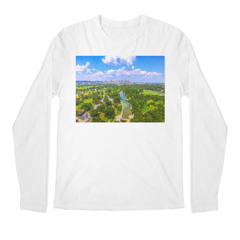 Barton Springs Pool / Custom Merchandise / Aerial Photography Men's Regular Longsleeve T-Shirt by Holp Photography Artist Shop