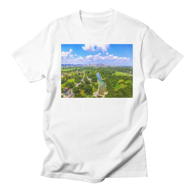 Barton Springs Pool / Custom Merchandise / Aerial Photography Men's Regular T-Shirt by Holp Photography Artist Shop