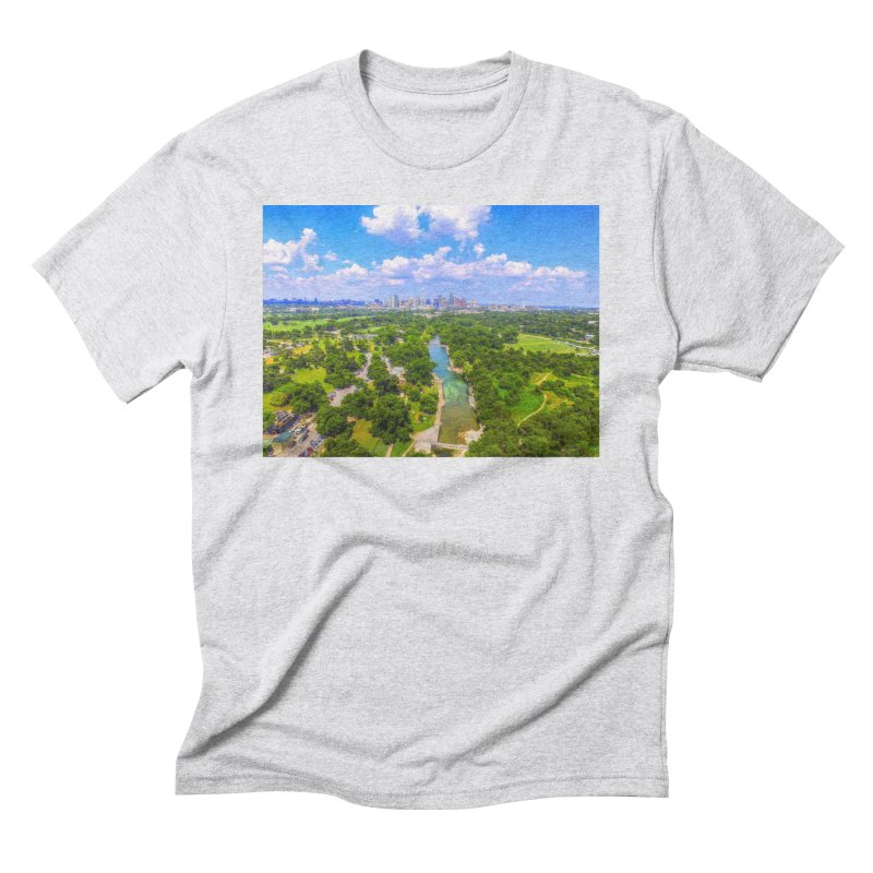 Barton Springs Pool / Custom Merchandise / Aerial Photography Men's Triblend T-Shirt by Holp Photography Artist Shop