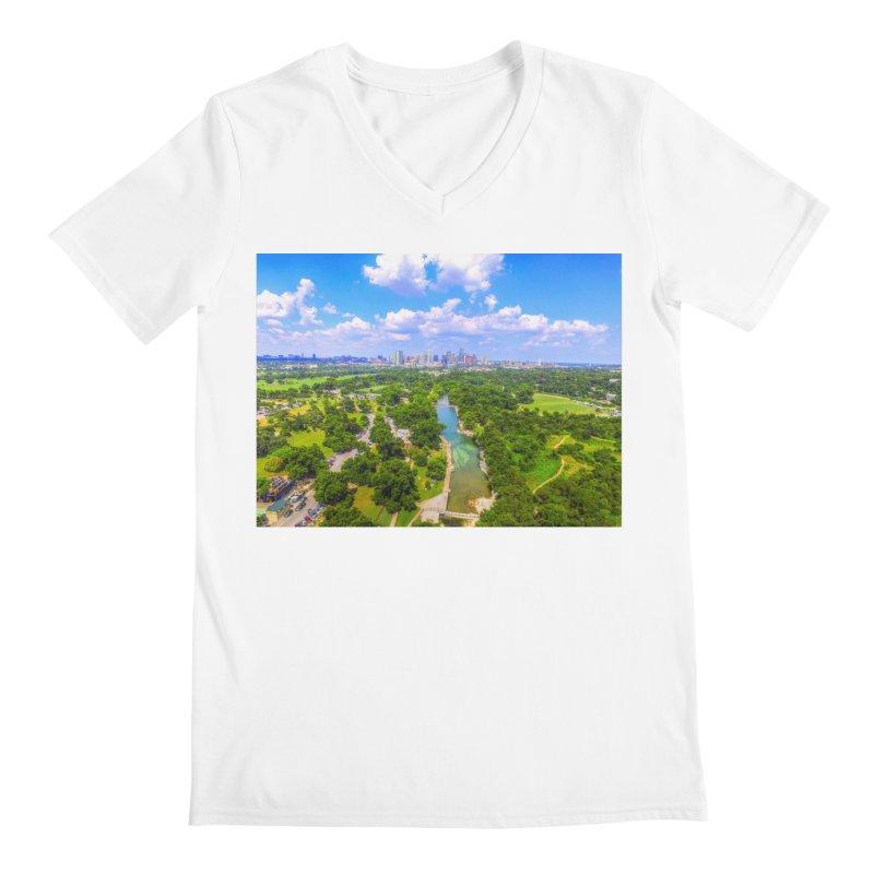 Barton Springs Pool / Custom Merchandise / Aerial Photography Men's V-Neck by Holp Photography Artist Shop