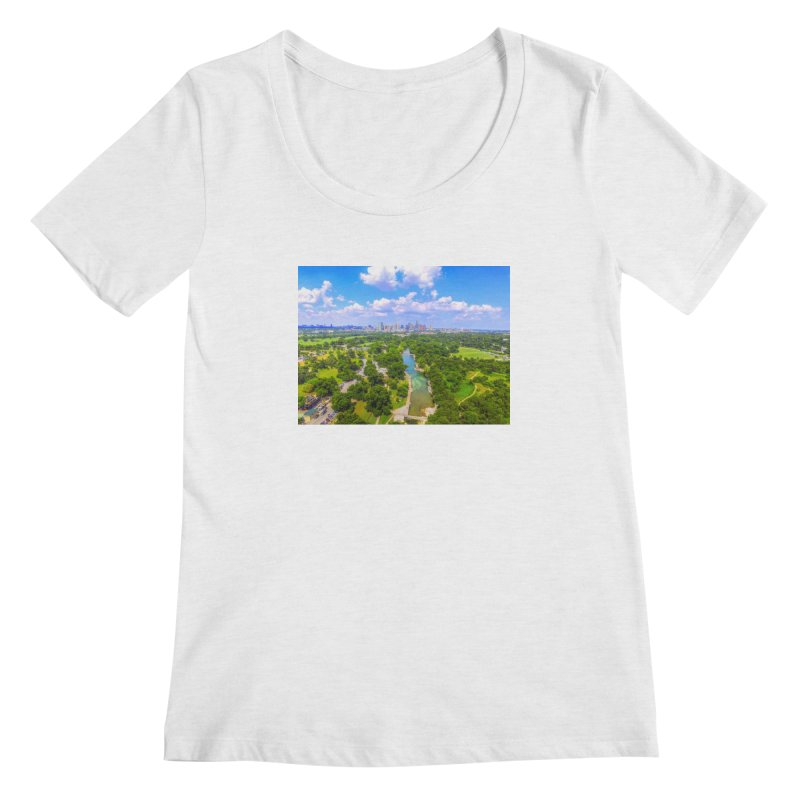 Barton Springs Pool / Custom Merchandise / Aerial Photography Women's Regular Scoop Neck by Holp Photography Artist Shop