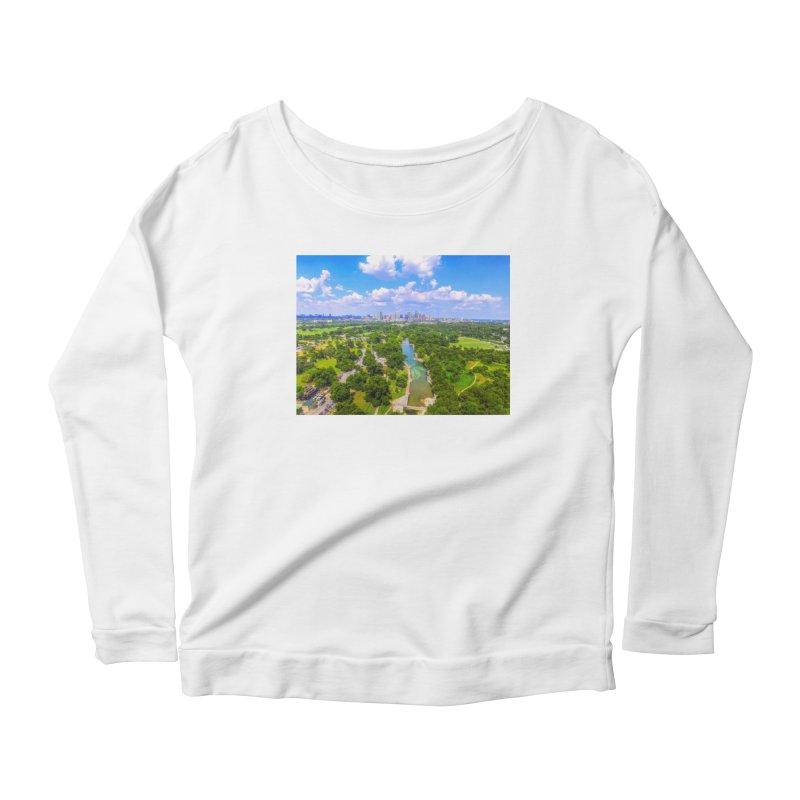 Barton Springs Pool / Custom Merchandise / Aerial Photography Women's Scoop Neck Longsleeve T-Shirt by Holp Photography Artist Shop