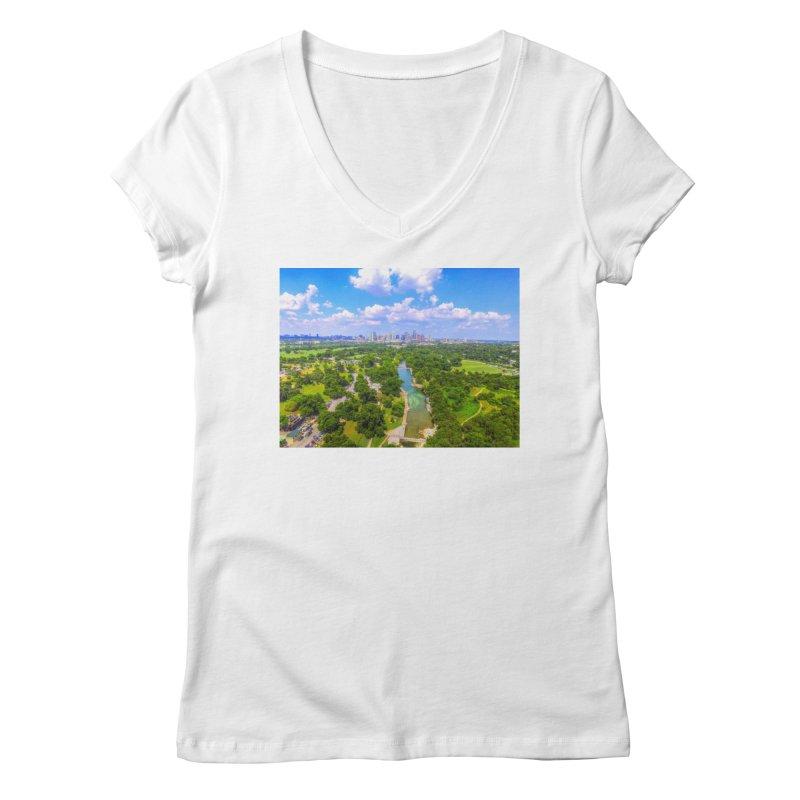 Barton Springs Pool / Custom Merchandise / Aerial Photography Women's Regular V-Neck by Holp Photography Artist Shop