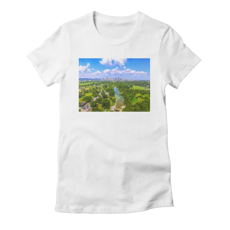Barton Springs Pool / Custom Merchandise / Aerial Photography Women's Fitted T-Shirt by Holp Photography Artist Shop