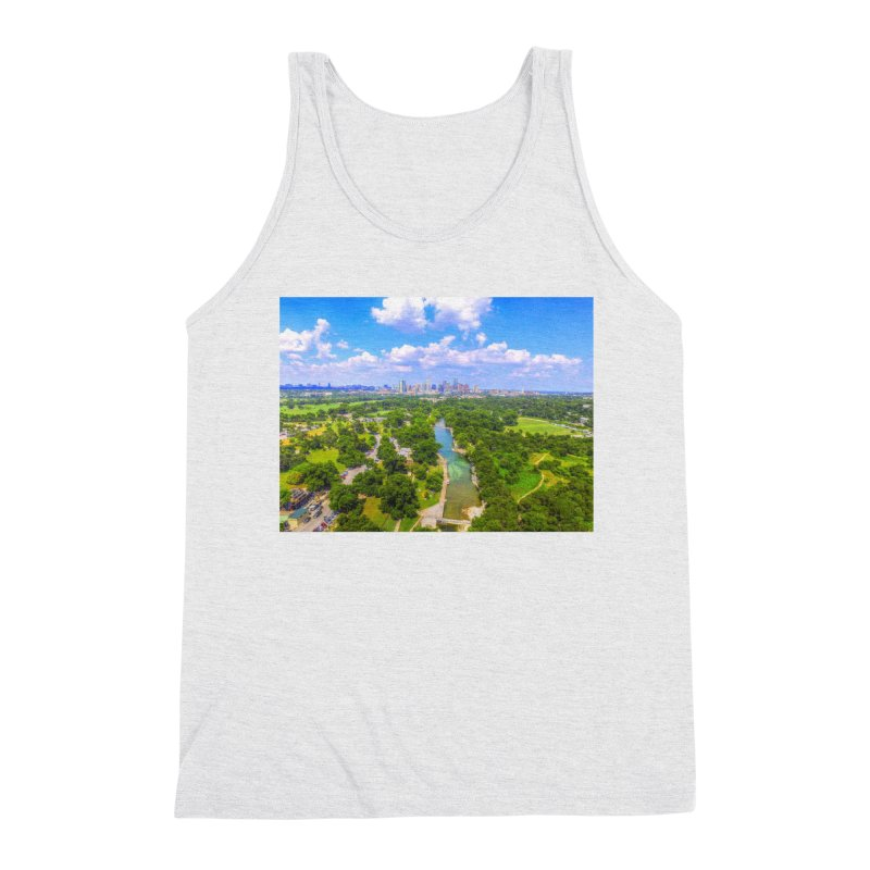 Barton Springs Pool / Custom Merchandise / Aerial Photography Men's Triblend Tank by Holp Photography Artist Shop