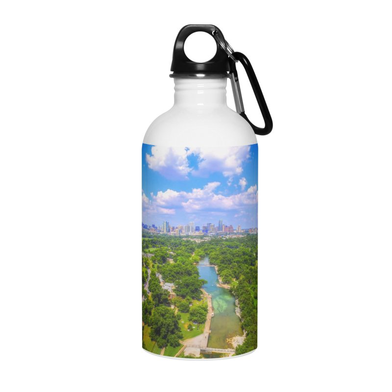 Barton Springs Pool / Custom Merchandise / Aerial Photography Accessories Water Bottle by Holp Photography Artist Shop