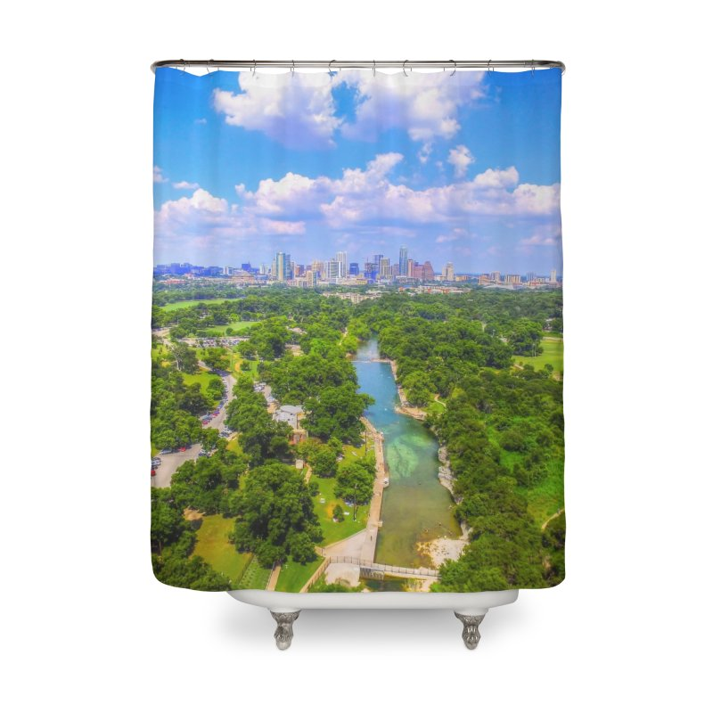 Barton Springs Pool / Custom Merchandise / Aerial Photography Home Shower Curtain by Holp Photography Artist Shop