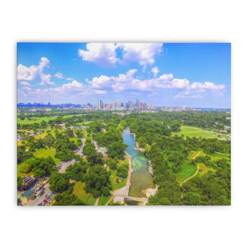 Barton Springs Pool / Custom Merchandise / Aerial Photography Home Stretched Canvas by Holp Photography Artist Shop