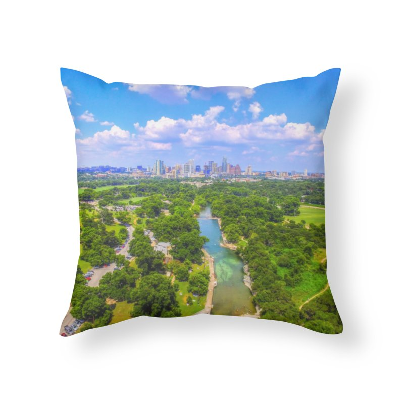 Barton Springs Pool / Custom Merchandise / Aerial Photography Home Throw Pillow by Holp Photography Artist Shop