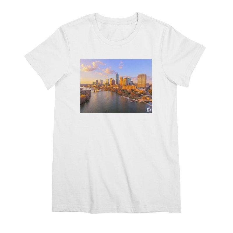 Austin Skyline Sunset / Custom Merchandise / Aerial Photography Women's Premium T-Shirt by Holp Photography Artist Shop