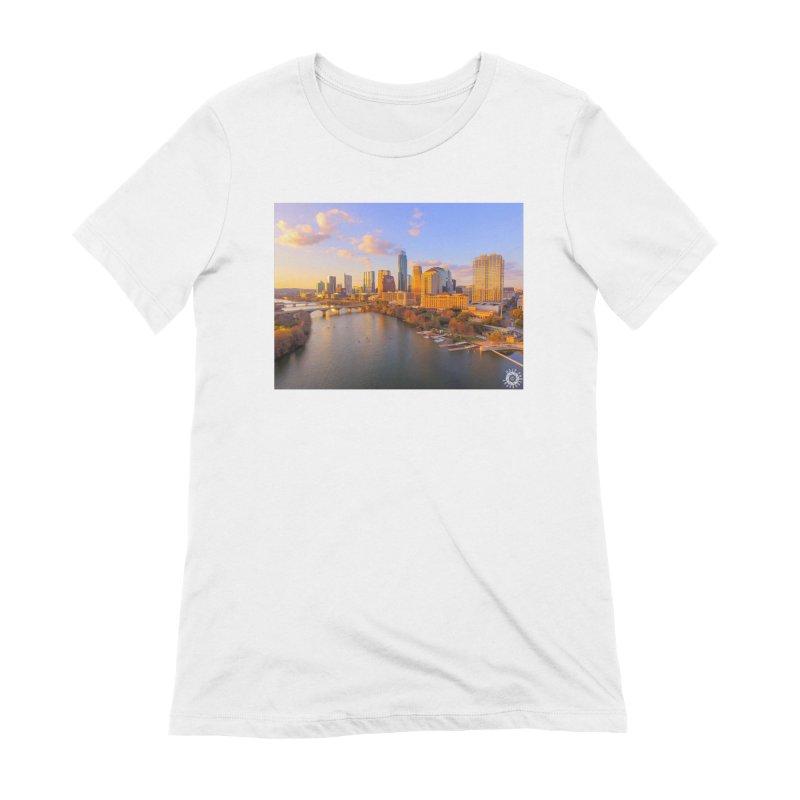 Austin Skyline Sunset / Custom Merchandise / Aerial Photography Women's Extra Soft T-Shirt by Holp Photography Artist Shop