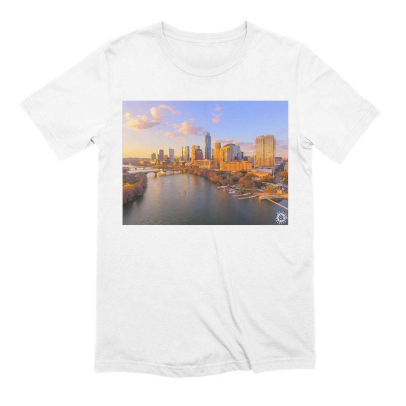 Austin Skyline Sunset / Custom Merchandise / Aerial Photography Men's Extra Soft T-Shirt by Holp Photography Artist Shop