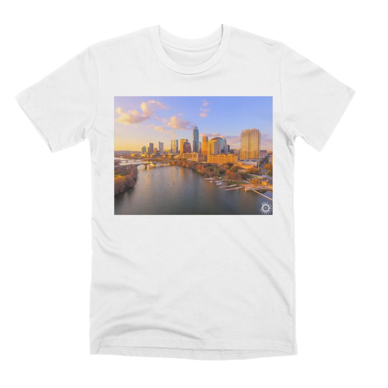 Austin Skyline Sunset / Custom Merchandise / Aerial Photography Men's Premium T-Shirt by Holp Photography Artist Shop